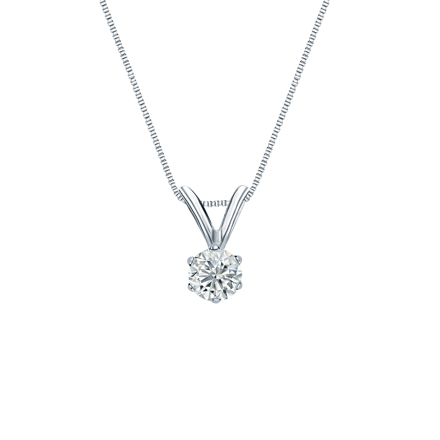 14k White Gold 6-Prong Basket Certified Round-Cut Diamond Solitaire Pendant 0.17 ct. tw. (J-K, I2)