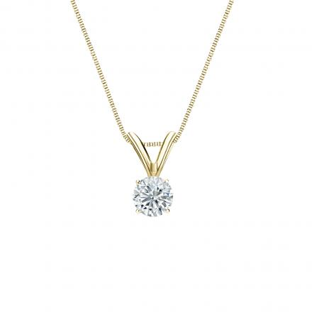 18k Yellow Gold 4-Prong Basket Certified Round-Cut Diamond Solitaire Pendant 0.20 ct. tw. (J-K, I2)