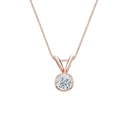 14k Rose Gold Bezel Certified Round-Cut Diamond Solitaire Pendant 0.20 ct. tw. (I-J, I1-I2)