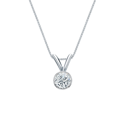 14k White Gold Bezel Certified Round-Cut Diamond Solitaire Pendant 0.20 ct. tw. (G-H, SI1)