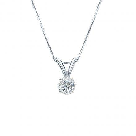 14k White Gold 4-Prong Basket Certified Round-Cut Diamond Solitaire Pendant 0.20 ct. tw. (I-J, I1-I2)