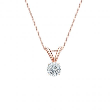 14k Rose Gold 4-Prong Basket Certified Round-Cut Diamond Solitaire Pendant 0.20 ct. tw. (I-J, I1-I2)