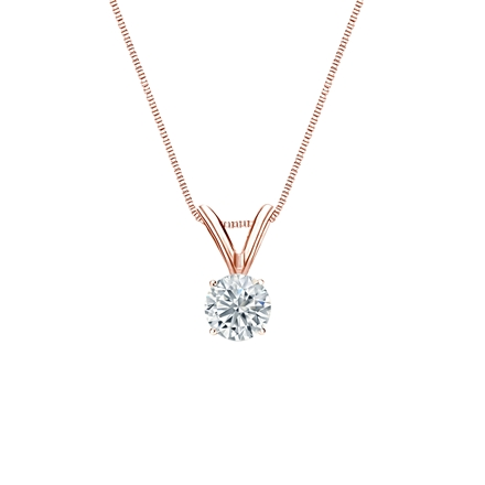 14k Rose Gold 4-Prong Basket Certified Round-Cut Diamond Solitaire Pendant 0.25 ct. tw. (I-J, I1-I2)