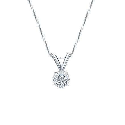 14k White Gold 4-Prong Basket Certified Round-Cut Diamond Solitaire Pendant 0.25 ct. tw. (G-H, SI1)