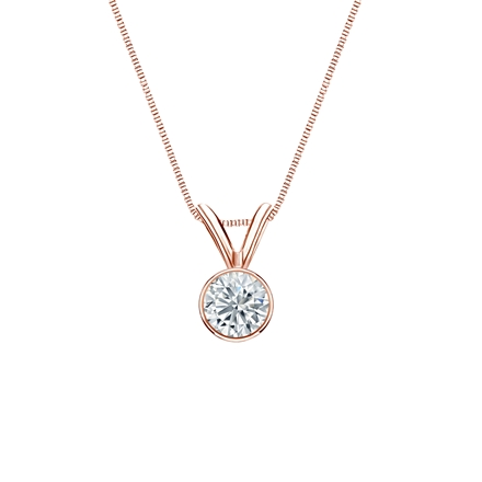 14k Rose Gold Bezel Certified Round-Cut Diamond Solitaire Pendant 0.25 ct. tw. (G-H, SI1)