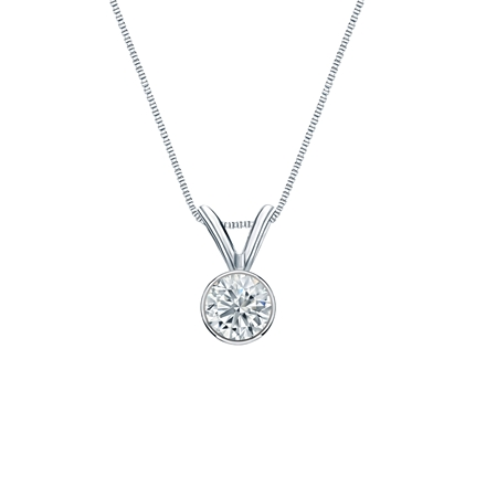 18k White Gold Bezel Certified Round-Cut Diamond Solitaire Pendant 0.25 ct. tw. (G-H, SI1)