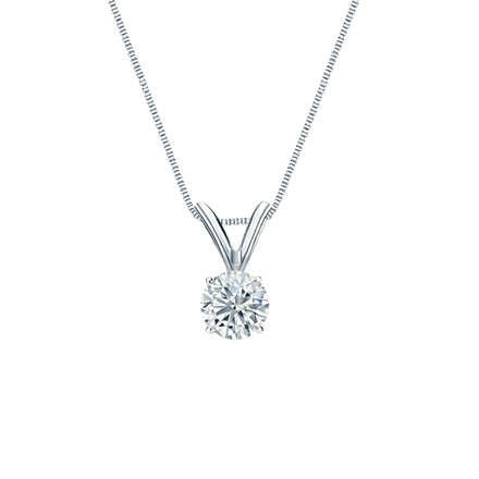 14k White Gold 4-Prong Basket Certified Round-Cut Diamond Solitaire Pendant 0.31 ct. tw. (I-J, I1-I2)