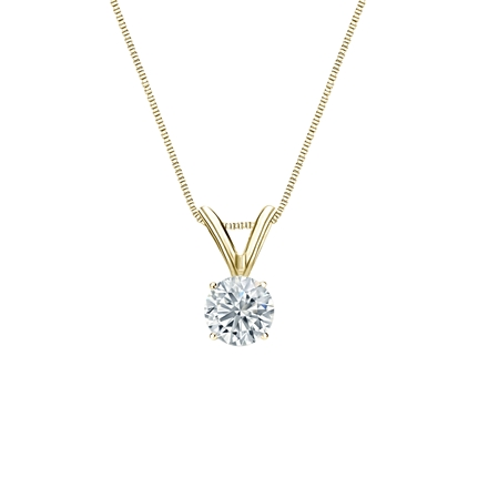 14k Yellow Gold 4-Prong Basket Certified Round-Cut Diamond Solitaire Pendant 0.31 ct. tw. (G-H, SI1)