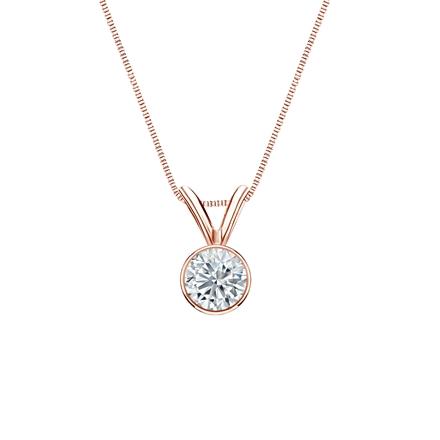 14k Rose Gold Bezel Certified Round-Cut Diamond Solitaire Pendant 0.31 ct. tw. (I-J, I1-I2)