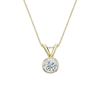 18k Yellow Gold Bezel Certified Round-Cut Diamond Solitaire Pendant 0.31 ct. tw. (I-J, I1-I2)
