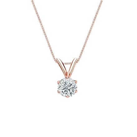 14k Rose Gold 6-Prong Basket Certified Round-Cut Diamond Solitaire Pendant 0.31 ct. tw. (G-H, VS2)