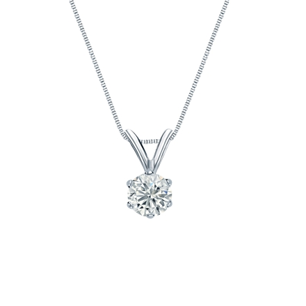 14k White Gold 6-Prong Basket Certified Round-Cut Diamond Solitaire Pendant 0.31 ct. tw. (G-H, VS2)