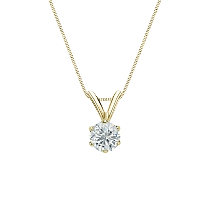 14k Yellow Gold 6-Prong Basket Certified Round-Cut Diamond Solitaire Pendant 0.31 ct. tw. (G-H, VS2)