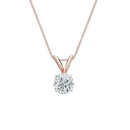 14k Rose Gold 4-Prong Basket Certified Round-Cut Diamond Solitaire Pendant 0.38 ct. tw. (I-J, I1-I2)