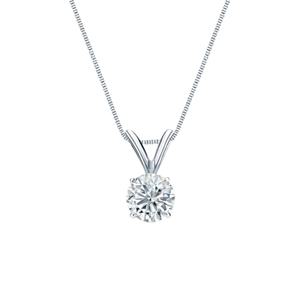 Platinum 4-Prong Basket Certified Round-Cut Diamond Solitaire Pendant 0.38 ct. tw. (I-J, I1-I2)