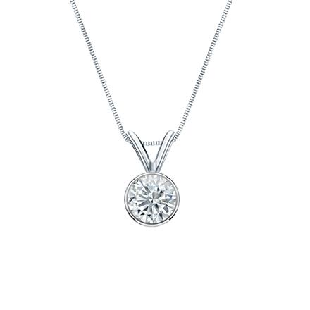 14k White Gold Bezel Certified Round-Cut Diamond Solitaire Pendant 0.38 ct. tw. (I-J, I1-I2)