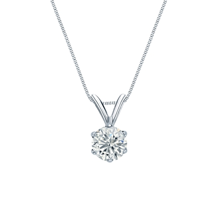 14k White Gold 6-Prong Basket Certified Round-Cut Diamond Solitaire Pendant 0.38 ct. tw. (I-J, I1-I2)