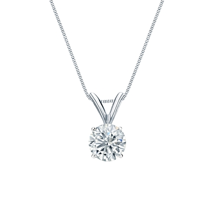 14k White Gold 4-Prong Basket Certified Round-Cut Diamond Solitaire Pendant 0.50 ct. tw. (G-H, SI1)