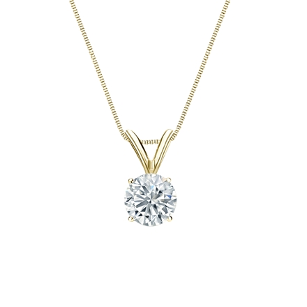 18k Yellow Gold 4-Prong Basket Certified Round-Cut Diamond Solitaire Pendant 0.50 ct. tw. (I-J, I1-I2)