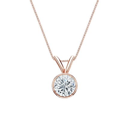 14k Rose Gold Bezel Certified Round-Cut Diamond Solitaire Pendant 0.50 ct. tw. (H-I, SI1-SI2)