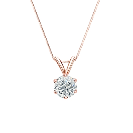 14k Rose Gold 6-Prong Basket Certified Round-Cut Diamond Solitaire Pendant 0.50 ct. tw. (I-J, I1-I2)