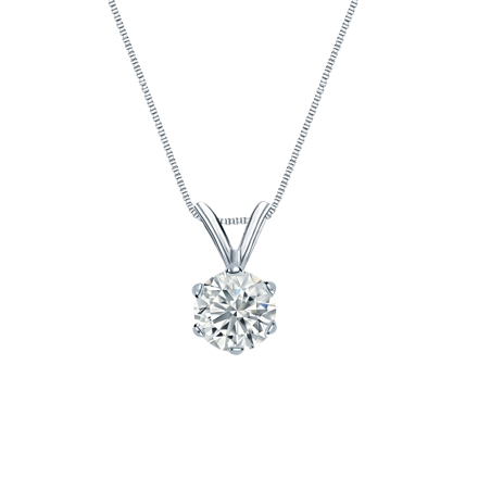 14k White Gold 6-Prong Basket Certified Round-Cut Diamond Solitaire Pendant 0.50 ct. tw. (I-J, I1-I2)