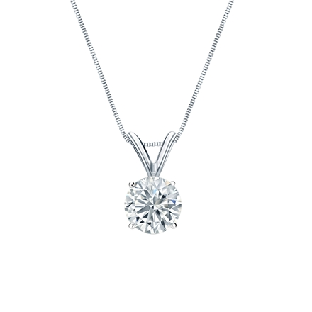 14k White Gold 4-Prong Basket Certified Round-Cut Diamond Solitaire Pendant 0.63 ct. tw. (I-J, I1-I2)