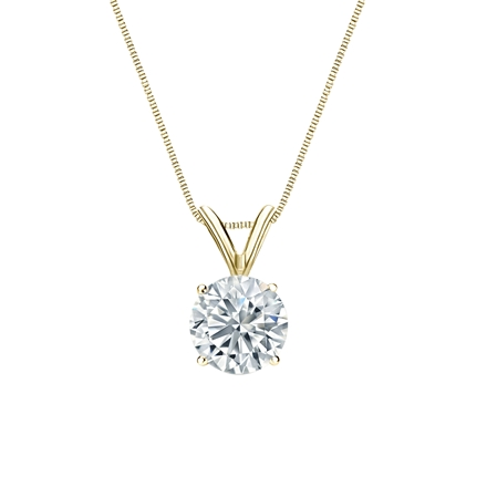 Lab Grown Diamond Solitaire Pendant Round 0.75 ct. tw. (I-J, SI1-SI2) in 14k Yellow Gold 4-Prong Basket