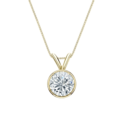 18k Yellow Gold Bezel Certified Round-Cut Diamond Solitaire Pendant 0.75 ct. tw. (I-J, I1-I2)