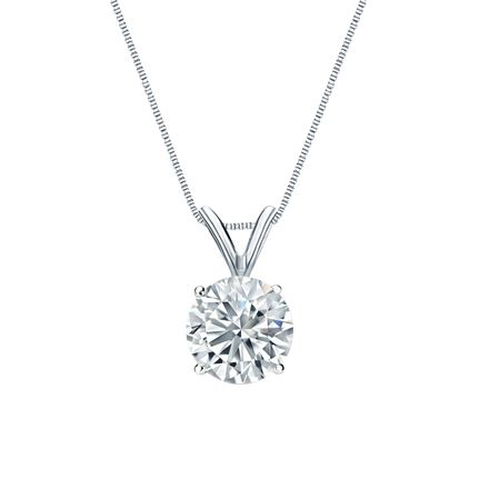 Certified 14k White Gold 4-Prong Basket Round-Cut Diamond Solitaire Pendant 1.00 ct. tw. (E-F, I1-I2)