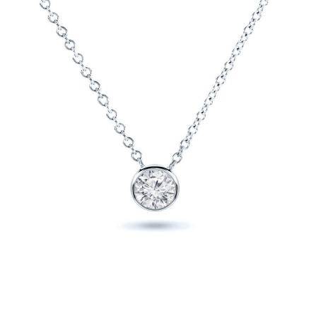 Lab Grown Diamond Solitaire Pendant Round 0.25 ct. tw. (E-F, VS1-VS2) in 14k White Gold Bezel
