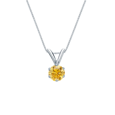 18k White Gold 6-Prong Basket Certified Round-cut Yellow Diamond Solitaire Pendant 0.25 ct. tw. (SI1-SI2)