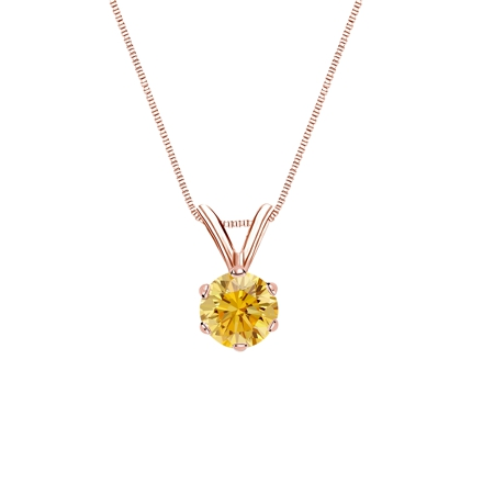 14k Rose Gold 6-Prong Basket Certified Round-cut Yellow Diamond Solitaire Pendant 0.38 ct. tw. (SI1-SI2)