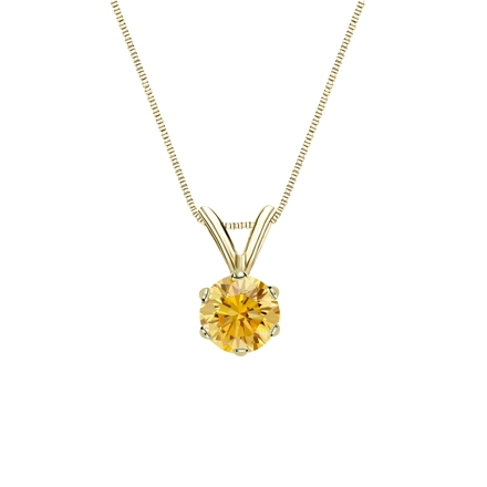 18k Yellow Gold 6-Prong Basket Certified Round-cut Yellow Diamond Solitaire Pendant 0.38 ct. tw. (SI1-SI2)
