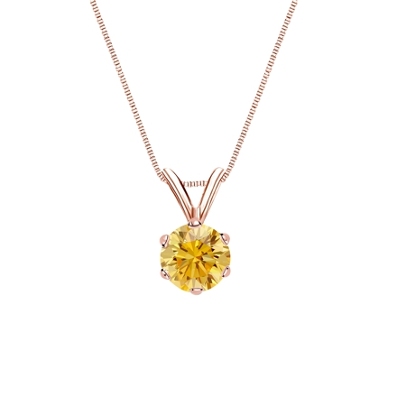 14k Rose Gold 6-Prong Basket Certified Round-cut Yellow Diamond Solitaire Pendant 0.50 ct. tw. (SI1-SI2)