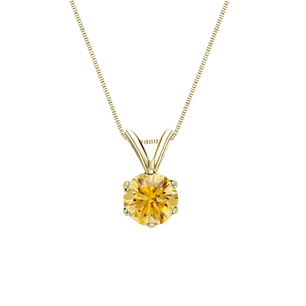 18k Yellow Gold 6-Prong Basket Certified Round-cut Yellow Diamond Solitaire Pendant 0.50 ct. tw. (SI1-SI2)