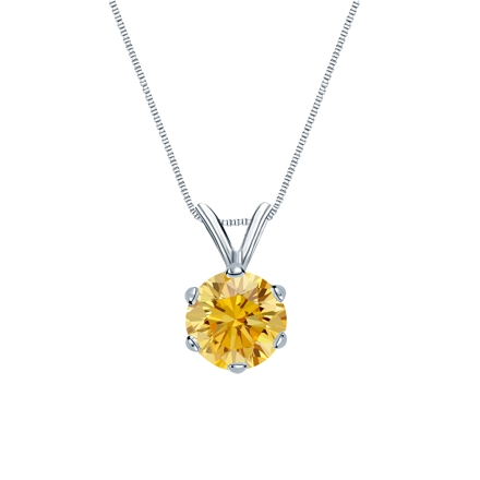 Platinum 6-Prong Basket Certified Round-cut Yellow Diamond Solitaire Pendant 0.75 ct. tw. (SI1-SI2)