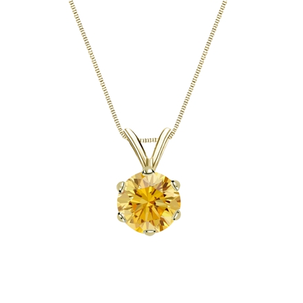 14k Yellow Gold 6-Prong Basket Certified Round-cut Yellow Diamond Solitaire Pendant 0.75 ct. tw. (SI1-SI2)