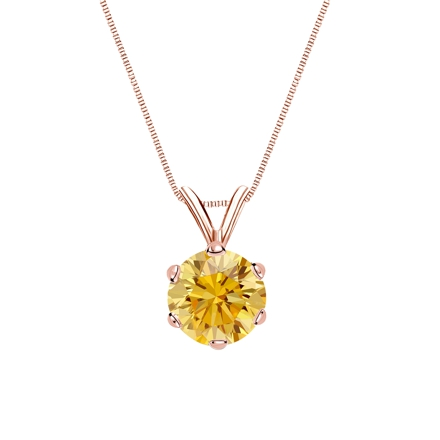 14k Rose Gold 6-Prong Basket Certified Round-cut Yellow Diamond Solitaire Pendant 1.00 ct. tw. (SI1-SI2)