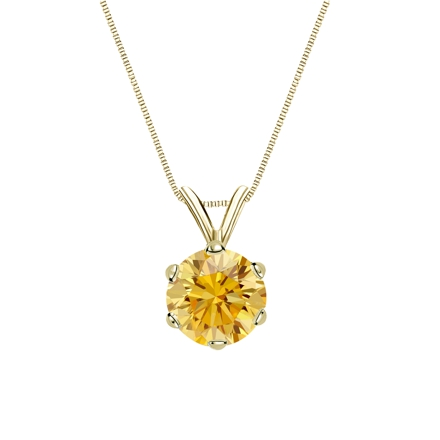 18k Yellow Gold 6-Prong Basket Certified Round-cut Yellow Diamond Solitaire Pendant 1.00 ct. tw. (SI1-SI2)