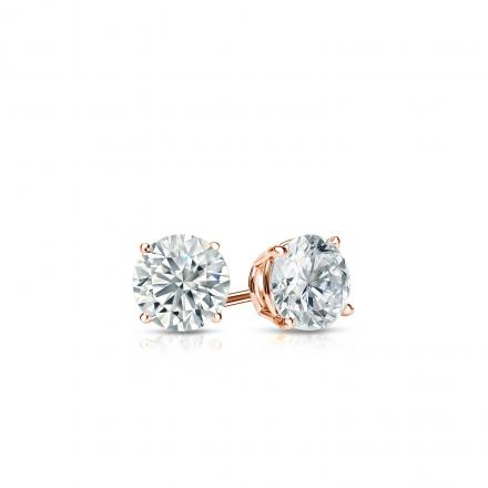 Certified 14k Rose Gold 4-Prong Basket Round Diamond Stud Earrings 0.25 ct. tw. (E-F, VS1-VS2)