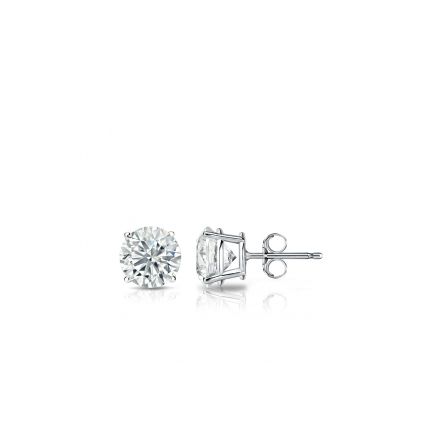 Lab Grown Diamond Studs Earrings Round 0.15 ct. tw. (F-G, VS1-VS2) in 14k White Gold 4-Prong Basket