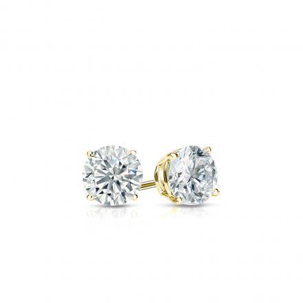 Certified 18k Yellow Gold 4-Prong Basket Round Diamond Stud Earrings 0.25 ct. tw. (I-J, I1-I2)