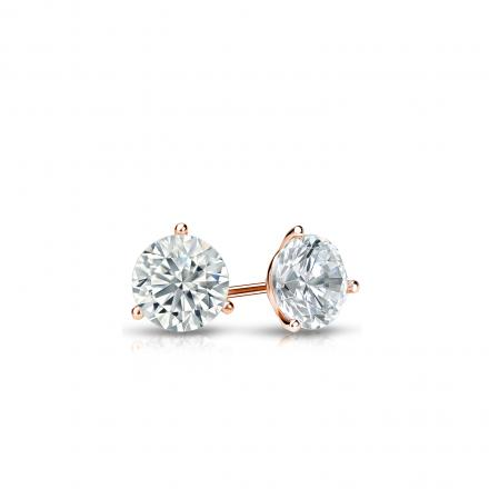 Certified 14k Rose Gold 3-Prong Martini Round Diamond Stud Earrings 0.25 ct. tw. I-J, I1-I2)