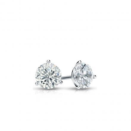 Certified Platinum 3-Prong Martini Round Diamond Stud Earrings 0.25 ct. tw. (I-J, I1-I2)