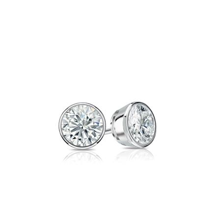 Certified 18k White Gold Bezel Round Diamond Stud Earrings 0.25 ct. tw. (I-J, I1-I2)