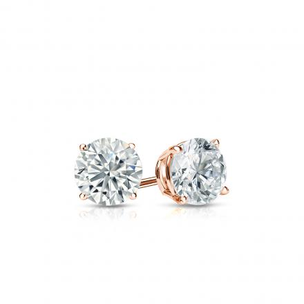 Certified 14k Rose Gold 4-Prong Basket Round Diamond Stud Earrings 0.33 ct. tw. J-K, I2)