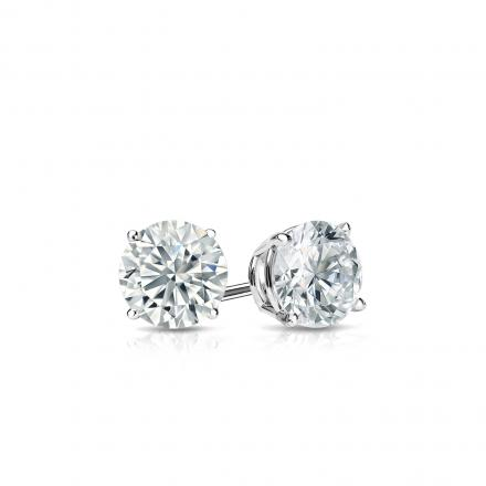 Certified 14k White Gold 4-Prong Basket Round Diamond Stud Earrings 0.33 ct. tw. (G-H, SI2)