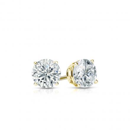 Certified 18k Yellow Gold 4-Prong Basket Round Diamond Stud Earrings 0.33 ct. tw. (J-K, I2)