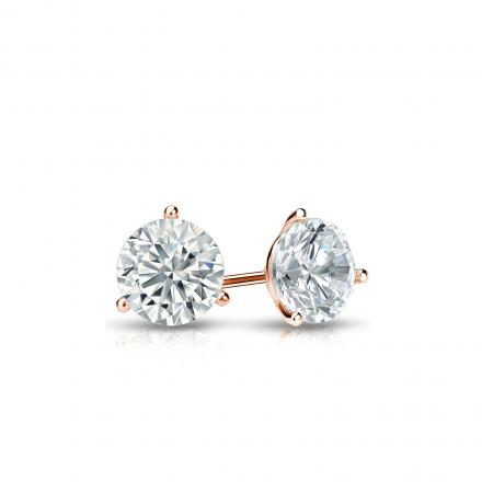 Certified 14k Rose Gold 3-Prong Martini Round Diamond Stud Earrings 0.33 ct. tw. J-K, I2)